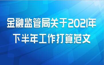 金融监管局关于2021年下半年工作打算范文